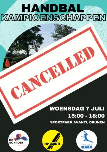 Scholentoernooi cancelled